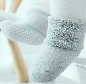Thick Cuffed Bootie-Like Ankle Socks for Babies