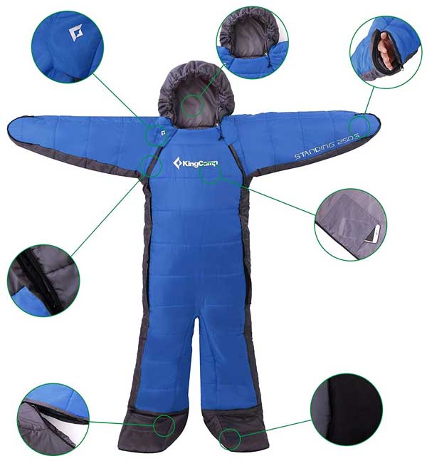 KingCamp Wearable Sleeping Bag for Kids, Shown in Blue
