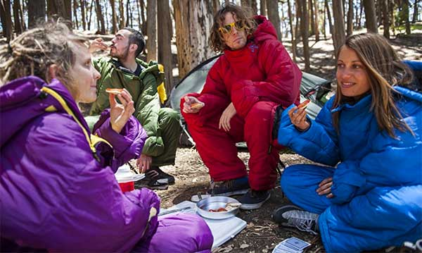 People Camping and Wearing the Selkbag Sleeping Bag Onesie