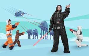 Star Wars Halloween Costumes + Sleeping Bags: Chewbacca, Darth Vader, Storm Trooper, Rebel Pilot