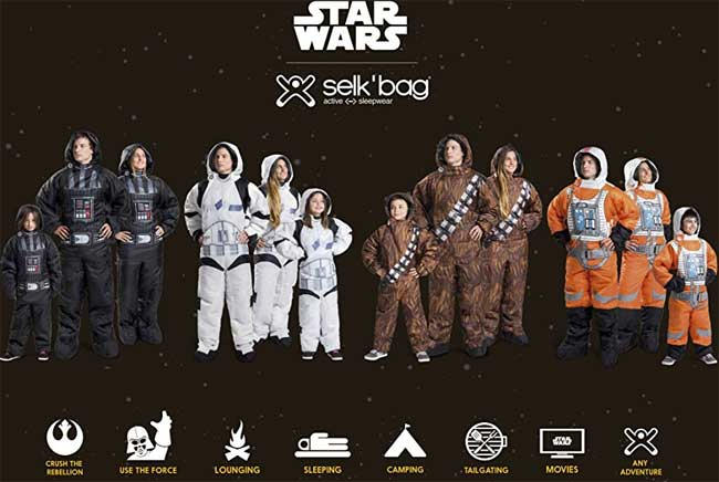 Star Wars Wearable Sleeping Bag: Chewbacca, Darth Vader, Storm Trooper, Rebel Pilot, for Adults and Kids
